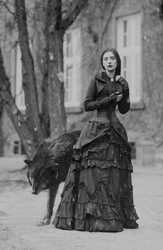 fletchingarrows: vintage style black white antque aged photograph wolf girl red riding fairytale werewolf Victorian