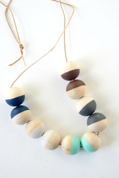 kid art: wood bead necklaces