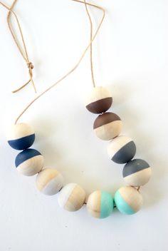 kid art: wood bead necklaces