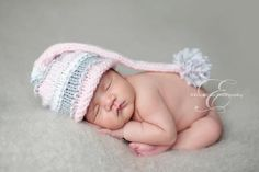 Image of Pink, Grey and White Newborn Baby Elf Hat
