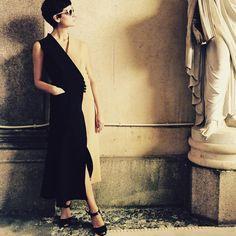 @evageraldine Statuary #sportmax bicolor dress #mfw