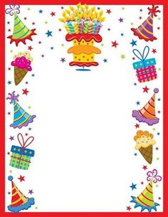 Teacher's Stuff Raquel: Decorative edges for cards, texts Birthday Clips, Birthday Frames, Birthday Scrapbook, Scrapbook Paper, Printable Border, Boarder Designs, Boarders And Frames, Photo Frame Design, Happy Birthday Celebration