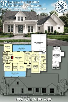 Plan Country Charmer with Over-Sized Rear Porch and Bonus Room Architectural Designs Exclusive Country Home Plan gives you Country House Plans, New House Plans, Dream House Plans, Small House Plans, Sims House Plans, The Plan, How To Plan, Future House, 2000 Sq Ft House