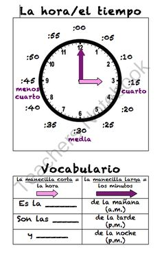 Spanish Telling Time Poster (La hora)  from Sra Ward on TeachersNotebook.com -  (1 page)  - Spanish Telling Time Poster (La hora) Telling Time In Spanish, How To Speak Spanish, Spanish 1, Spanish Worksheets, Spanish Teaching Resources, Teaching Ideas, Spanish Lesson Plans, Spanish Lessons, Spanish Teacher