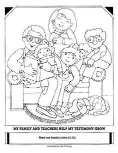 Lds Family Coloring Pages Lds Coloring Pages, Family Coloring Pages, Super Coloring Pages, Coloring Pages For Kids, Coloring Books, Family Drawing, Family Home Evening, Primary Lessons, Sunday School Crafts
