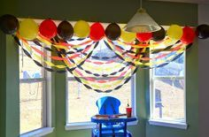 Streamers - Yesterday was Greyson's first birthday party. We decided to go with a Mickey Mouse theme because he just adores Mickey Mouse Clubhouse-. Bolo Da Minnie Mouse, Mickey Mouse First Birthday, Mickey Mouse Clubhouse Birthday Party, First Birthday Parties, 2nd Birthday, Birthday Ideas, Mickey Mouse Theme Party, Mickey Mouse Birthday Decorations, Halloween Decorations
