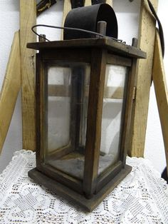 13in tall primitive wooden BARN LANTERN / CANDLE HOLDER, approx. 1820, Germany #NaivePrimitive