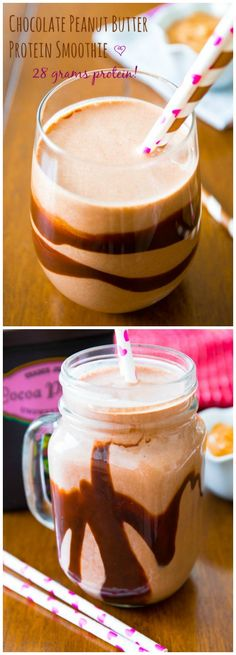 A simple recipe for a chocolate peanut butter protein smoothie with 28 grams of protein!