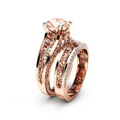 """Rose Gold Morganite Engagement Ring Set Unique 2 Carat Morganite Ring with Matching Band Rose Gold Engagement Rings - Camellia Jewelry - For That """"Yes"""" Moment Engagement Ring Rose Gold, Morganite Engagement, Engagement Ring Settings, Oval Engagement, Bijoux Or Rose, Ring Verlobung, Wedding Rings, Gold Wedding, Bracelets"""