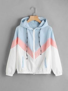 FeiTong Women Windbreaker Jacket Female Multicolor Patchwork Hooded Jacket Basic Jackets Color Block Coats For Women Teen Fashion Outfits, Sport Outfits, Cool Outfits, Summer Outfits, Sweatshirt Outfit, Hoodie Jacket, Windbreaker Jacket, Jacket Men, Nike Jacket