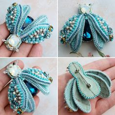 Best 12 Sewing a beaded brooch using an embroidery hoop to keep the fabric base flat. Bead Embroidery Jewelry, Fabric Jewelry, Beaded Embroidery, Hand Embroidery, Crochet Leaf Patterns, Beading Patterns, Beaded Brooch, Crochet Earrings, Brooches Handmade