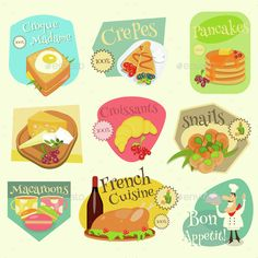 French Food Menu Mini Labels Set with Traditional Meal. Vector Illustration. File contains JPEG and EPS10 format. File has transpa