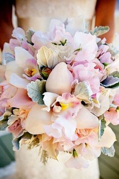 It's a perfect bouquet! Bouquet of garden roses, sweet peas, lisianthuses, cymbidium orchids, and dusty miller Orchid Bouquet Wedding, Spring Wedding Bouquets, Bride Bouquets, Floral Wedding, Wedding Flowers, Pastel Bouquet, Trendy Wedding, Rustic Wedding, Flower Bouquets