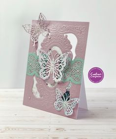Sara Signature Vintage Lace collection by Crafters Companion Butterfly Cards Handmade, Doodle Background, Crafters Companion Cards, Vintage Lace, Pattern Paper, Homemade Cards, I Card, Cardmaking, Christmas Cards
