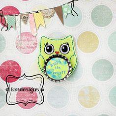 Bottle cap Owl Feltie ITH Embroidery design file