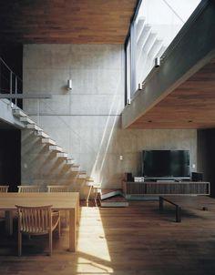 Foo two family house - yokohama - apollo - 2007 [Architecture - Concrete - Wood] Architecture Design, Interior Design Renderings, Chinese Architecture, Interior Exterior, Modern Interior, Japanese Interior, Concrete Interiors, Concrete Wood, Exposed Concrete