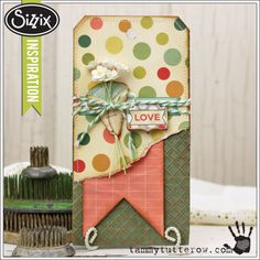Sizzix Die Cutting Inspiration | Textured Love Tag by Tammy Tutterow.