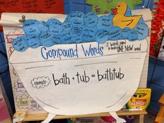 I must say I was shocked when I realized this idea wasn't already on Pinterest. I loved creating this cute compound word anchor chart! My firsties got to come up with their own compound words and put them on a bubble to go into our bathtub! (butter + fly = butterfly)