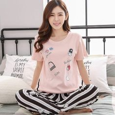 Women s Pajamas Sets 100% Cotton Cartoon Autumn Girlfriend Gift Indoor  Cloth Home Suit Sleepwear Long Sleeve Female Pyjamas Sets 165b8d651