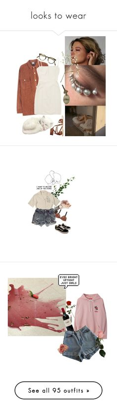"""""""looks to wear"""" by irissokk ❤ liked on Polyvore featuring Hervé Léger, Oliver Peoples, Ancient Greek Sandals, AllSaints, Vans, DuWop, American Apparel, the1975, Vetements and StyleNanda"""