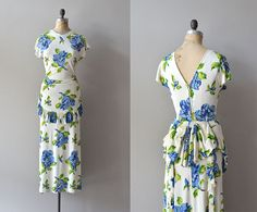 Emma Domb, rayon jersey Summer on the Nahlin   floral 30s maxi dress  1930s by DearGolden, $334.00