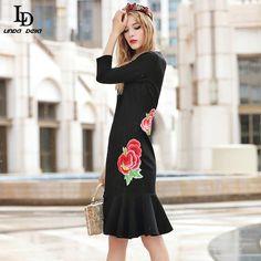 Sexy Black Dress Women's Long SLeeve Lace Patchwork Print Slim Knee Length Dress Like if you remember www.storeglum.com... #shop #beauty #Woman's fashion #Products
