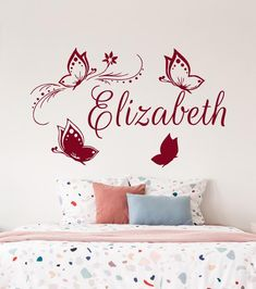 Name Wall Decals Butterfly Wall Decal Girl Nursery Wall Decal Girl Name Art Nursery Girl Vinyl Decal Name Sticker Murals Bedroom Decor Name Wall Decals, Name Stickers, Nursery Wall Decals, Nursery Art, Girl Nursery, Vinyl Decals, Butterfly Wall Decals, Name Art, Textured Walls