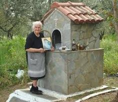 Yiayia taking care of the Orthodox Roadside shrine. She is radiant. She can come and live in the backyard tending the graves and the shrines. Catholic Altar, Roman Catholic, Myconos, Prayer Corner, Home Altar, Orthodox Christianity, Blessed Virgin Mary, Orthodox Icons, Place Of Worship