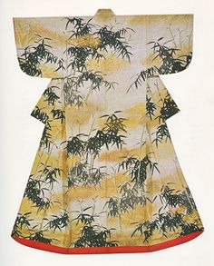 This Late Edo Kosode from the Kanebo Collection exhibition titled Tagasode: Whose Sleeves .... is White figured satin decorated with an India Ink design of bamboo attributed Ogata Korin.  The work is unsigned and the attribution is not definitely established but the brush strokes and use of flaked gold is reminiscent of his work.