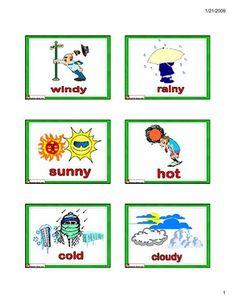 English for Kids,ESL Flashcards weather vocabulary- cold, hot, sunny, rainy, windy