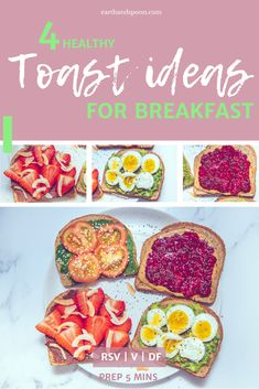How to Make Quick and Healthy Toast Breakfast Ideas) — Earth and Spoon Healthy Recipes On A Budget, Dairy Free Recipes, Vegetarian Recipes, Budget Meals, Breakfast Toast, Breakfast Ideas, Healthy Breakfast Recipes, Vegetarian Breakfast, Nutrition