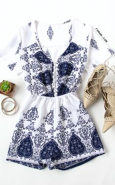 White Ornate Print Button Front Romper