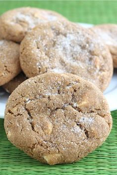 Soft Gingersnap Cookies with White Chocolate Chunks Recipe on twopeasandtheirpo... The BEST gingersnaps you will ever eat!