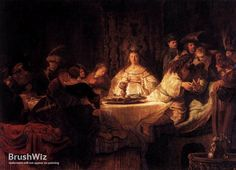 The Wedding Of Samson by Rembrandt - Oil Painting Reproduction - BrushWiz.com