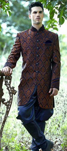 13290, Sherwani, Silk, Jacquard, Thread, Blue, Beige and Brown Color Family