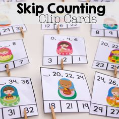 These super cute matroyshka free printable skip counting clip cards are a great… 1st Grade Math, Kindergarten Math, Grade 3, Teaching Math, Teaching Ideas, Skip Counting Games, Math Games, Science Activities For Kids, Space Activities