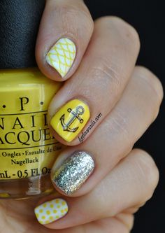 Anchor Nails -  Ew yellow but the fish scales design is neat!