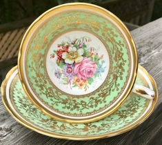Pretty Pink Addiction-Stunning Blue, Green Grosvenor Teacup and Saucer-Priced Individually Tea Sets Vintage, Scalloped Edge, Bone China, Cup And Saucer, Pretty In Pink, Tea Time, Pink Blue, Tea Pots, Suits