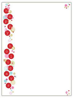 Our free Christmas letter template designs feature colorful borders, pretty frames to put family photos in, and plenty of space for writing your yearly Christmas letter. Bubble Christmas, Christmas Frames, Christmas Fun, Holiday Fun, Christmas Cards, Christmas Letters, Celebrating Christmas, Christmas Letterhead, Christmas Stationery