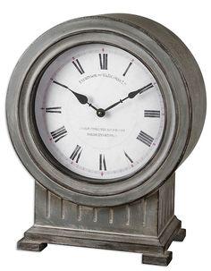 Uttermost Chouteau Mantel Clock - White Dial - Grey Finish - Roman Numerals