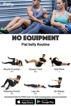 Flat Belly Routine by Fitify - 6 Pack for Women with NO EQUIPMENT Ab workout that will get you a shredded six pack in no time. Hiit Workout At Home, Gym Workout Videos, Abs Workout Routines, Gym Workout For Beginners, Fitness Workout For Women, At Home Workouts, Fat Workout, Gym Routine, Boxing Workout