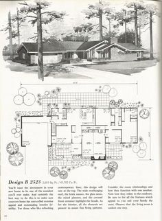 Mid Century Modern. Switch the kitchen and family room. Turn family room into breakfast nook. Turn dining room into dining/library. Expand bedroom wing to match living room. Remix master suite so bed/sit area overlooks back yard. Add bed/bath to new bed wing area.