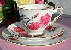 "Royal Stafford ""Carnation"" vintage bone china teacup, saucer and tea plate."