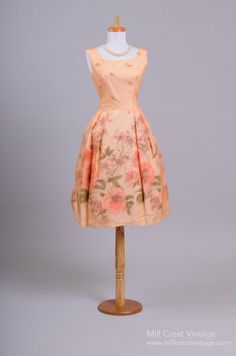 Peach Chiffon and Satin Vintage Party Dress $395