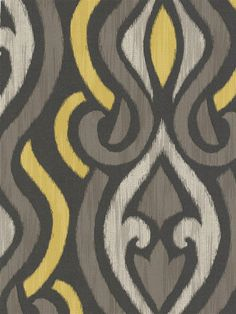 Patricia Ikat Damask Wallpaper | AmericanBlinds.com #yellow #grey #brown #neutral