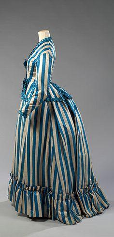 1880's Victorian Striped Bustle Dress