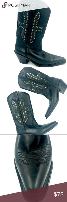 Spotted while shopping on Poshmark: Black leather cowboy boots with stud details S7! #poshmark #fashion #shopping #style #Bakers #Shoes