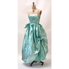 Metallic 80s Prom Dress Size XS Small Blue Aqua Green Vintage Blue... ($155) ❤ liked on Polyvore featuring dresses, green strapless dress, prom dresses, vintage cocktail dresses, aqua blue dress and blue cocktail dress