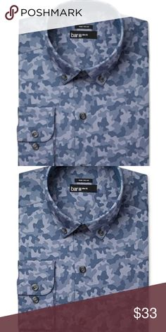 Bar III-Blue Indigo Camoflauge Slim Fit Shirt Med Manufacturer: Bar III Size: Medium Size Origin: US Manufacturer Color: Blue Indigo  Retail: $65.00 Condition: New With Tags Sleeve Length: 32/33 Style Type: Dress Shirt Collection: Bar III Sleeve Length: Long Sleeve Collar: Button-Down Collar Material: 100% Cotton Fabric Type: Cotton Specialty: Camouflage A slim fit is cut closer through the chest, sleeves and waist  Features slim armholes and sleeves ITEM#0445 Bar III Shirts Dress Shirts