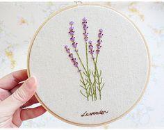Hand embroidery in hoop Wall Art Lavender flower garden